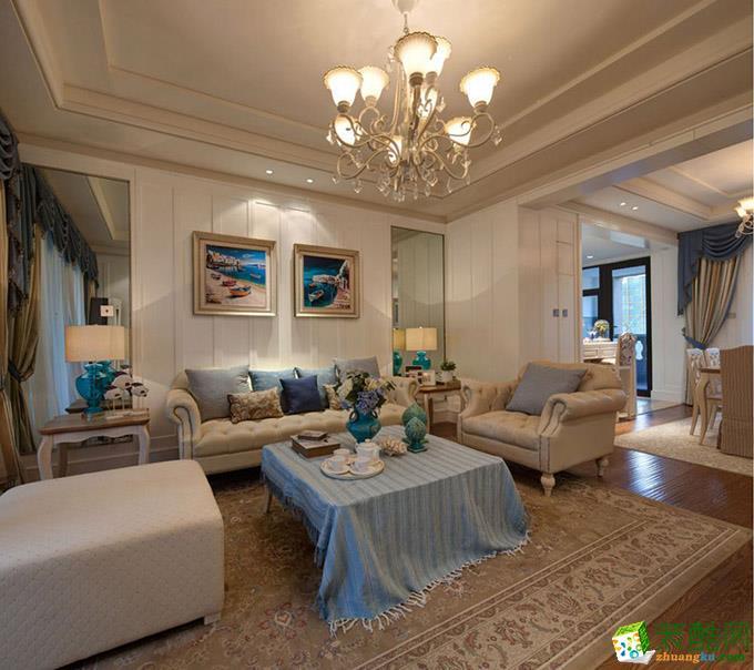 重庆四室两厅装修-地中海风格129平米装修效果图-鸿百年装饰