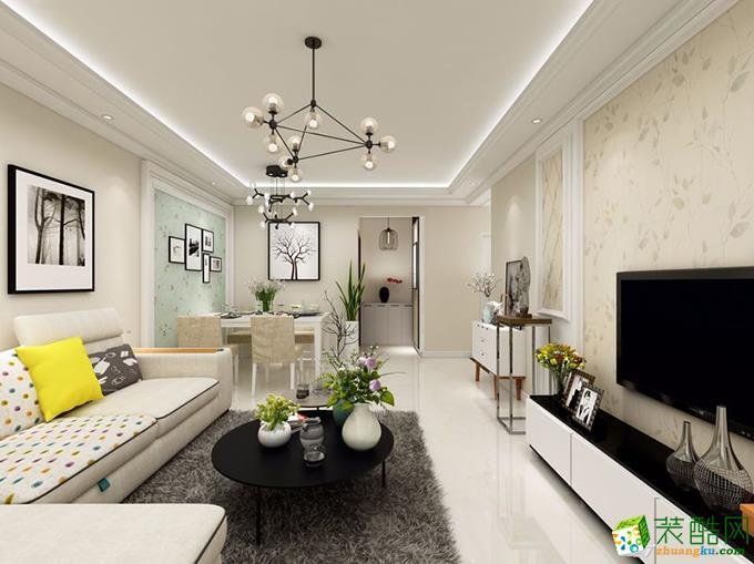 重庆三室两厅装修-95平米北欧风格装修效果图-鸿百年装饰