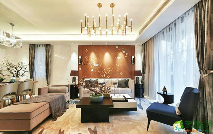 重庆三室两厅装修-126平米中式风格装修效果图-鸿百年装饰