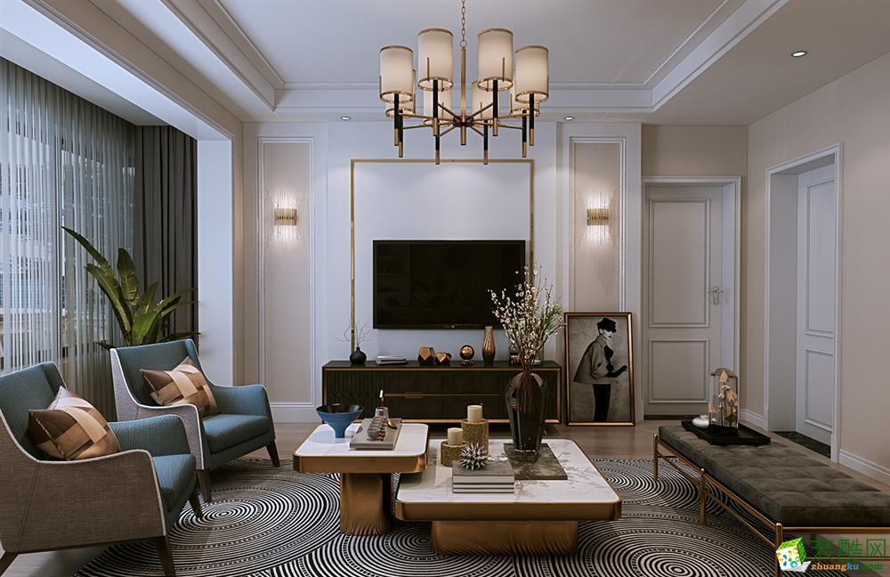 武汉122�O三室两厅两卫现代简约风格装修效果图