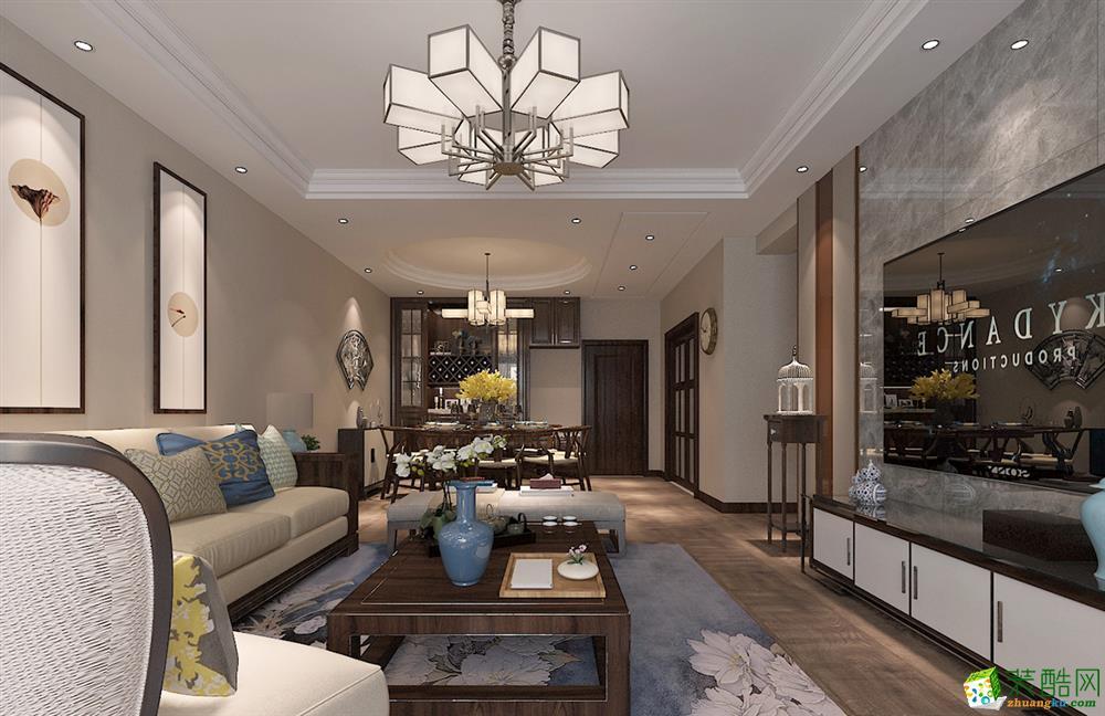 武汉127�O三室一厅一卫新中式风格装修设计效果图