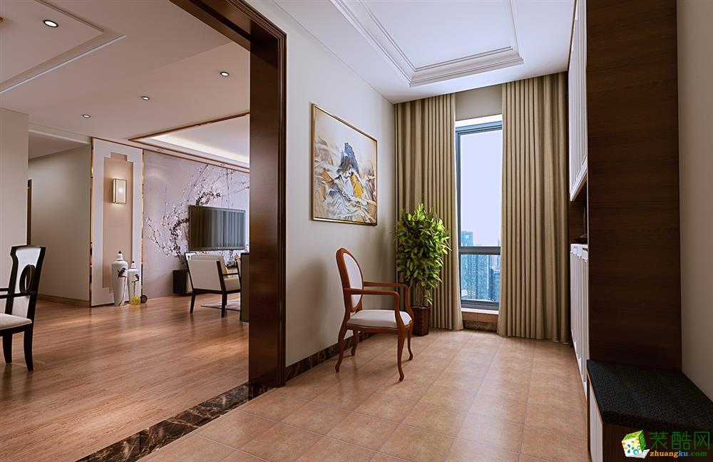 武汉92�O三室一厅一卫新中式风格装修设计效果图