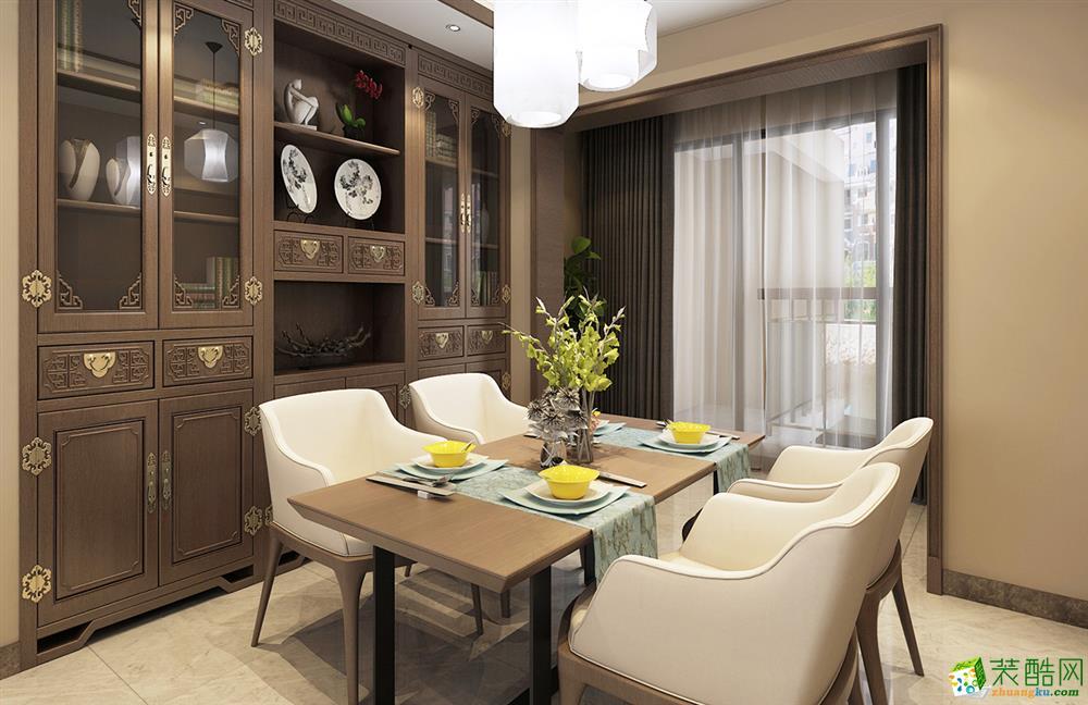 武汉130方三室两厅新中式风格装修效果图