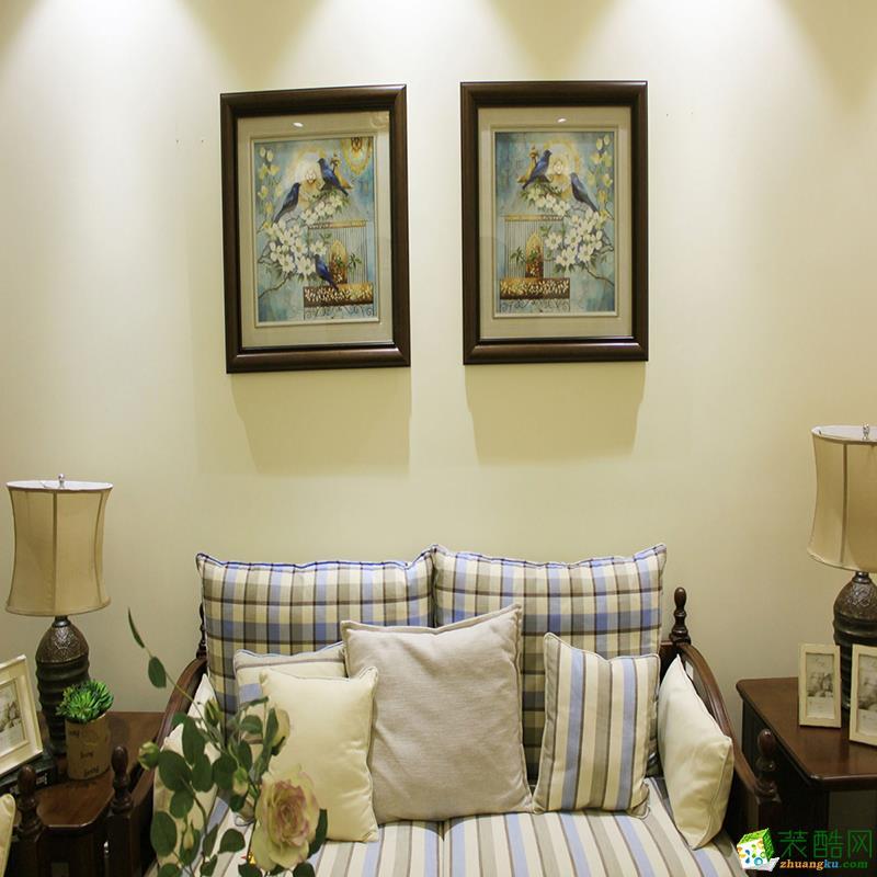 大连三室两厅装修-135平米美式田园风格装修效果图-品尚茗居