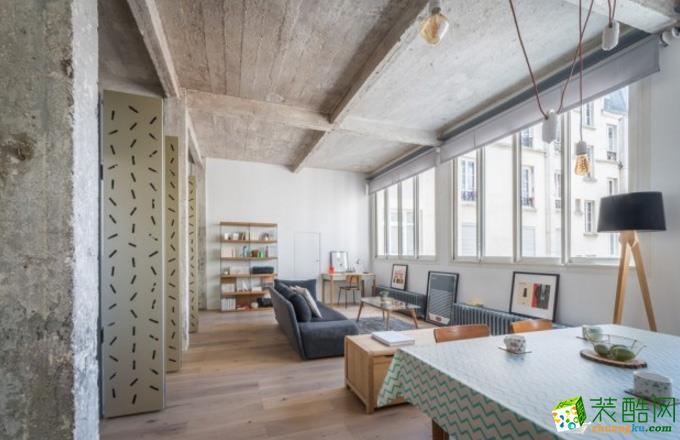 绵阳81㎡两室一厅一卫现代工业风格设计效果图