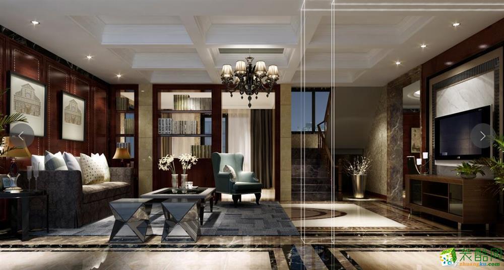 重庆四室两厅装修-186平米新中式风格装修效果图-天地和
