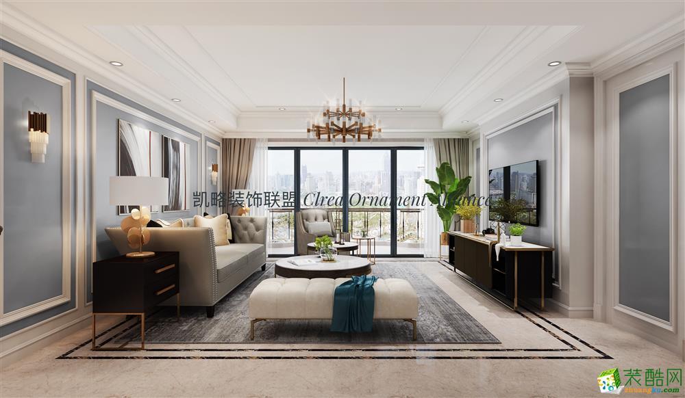 杭州90�O三室一厅一卫轻奢美式风格设计作品