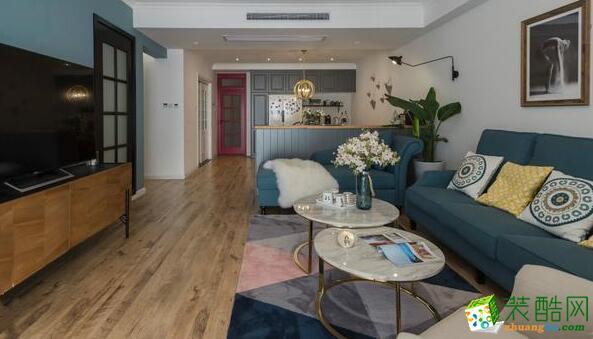 复地东湖国际107�O三室两厅两卫混搭风格装修效果图
