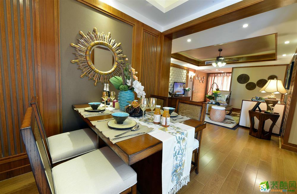 鸿兴装饰-恒威海上花院东南亚风格120平装修案例效果图