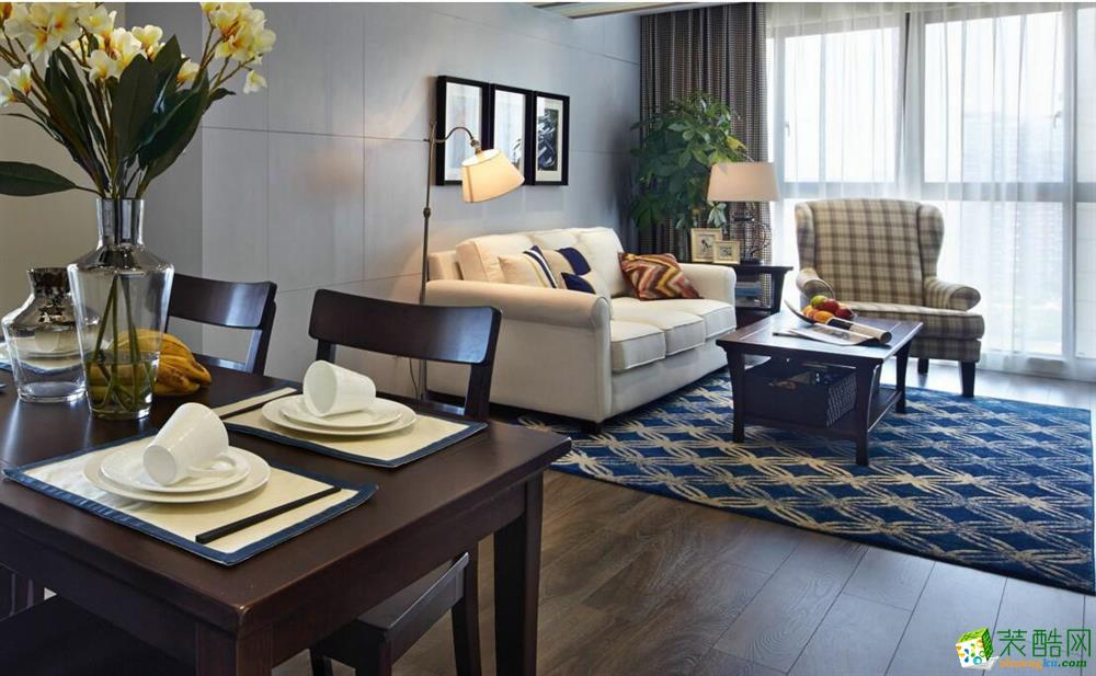 南宁两室一厅一卫装修—积木家装饰80平美式风格装修效果图