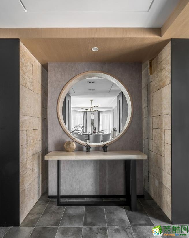 过道吊顶  【喜客喜装饰】280㎡四室新中式风格装修效果图