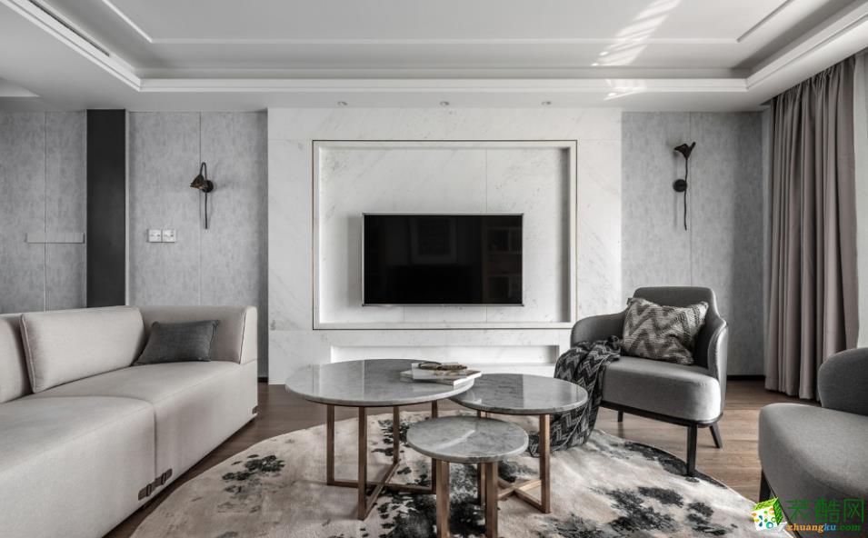 客厅  【喜客喜装饰】280㎡四室新中式风格装修效果图