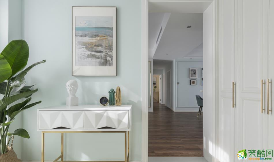 过道吊顶  【居立方装饰】-140㎡三居室美式风格装修效果图