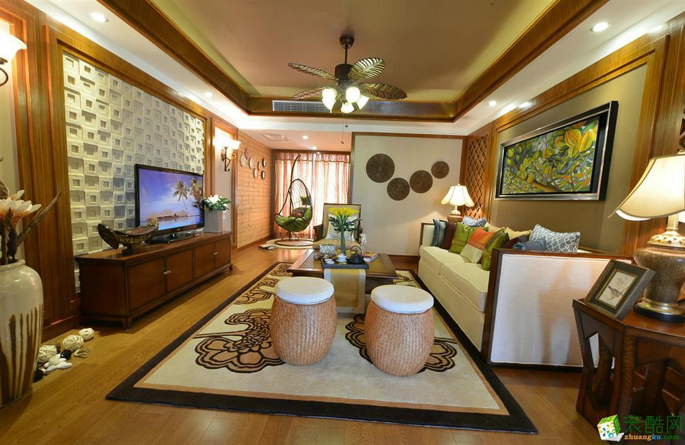 雅诺达装饰-柒里新都东南亚风格129平装修案例效果图