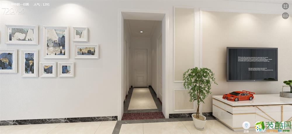 东方雨林88�O两室两厅一卫简欧风格婚房装修设计作品