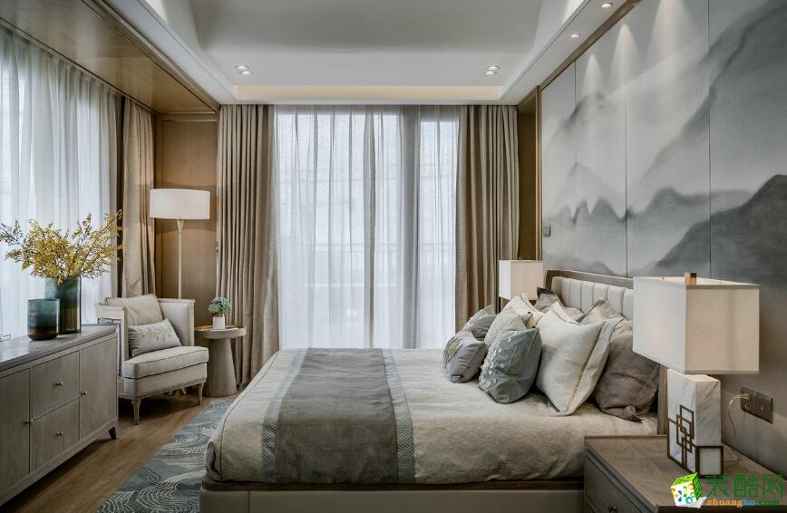 石家庄三室一厅一卫装修―积木家装饰100平新中式装修效果图