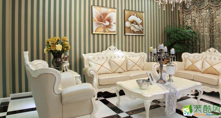 无锡观唐上院装饰-120平米欧式三居室装修案例