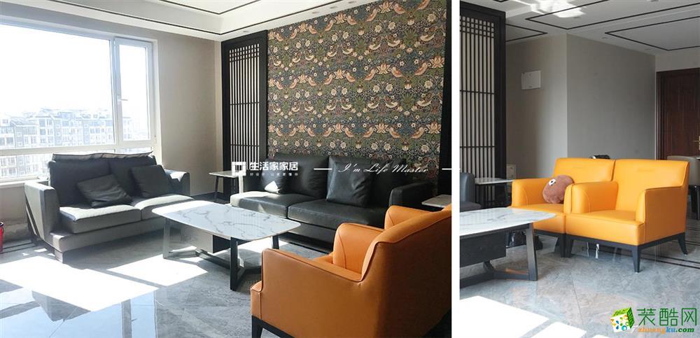 大连三室两厅装修-138平米新中式风格装修效果图-生活家装饰