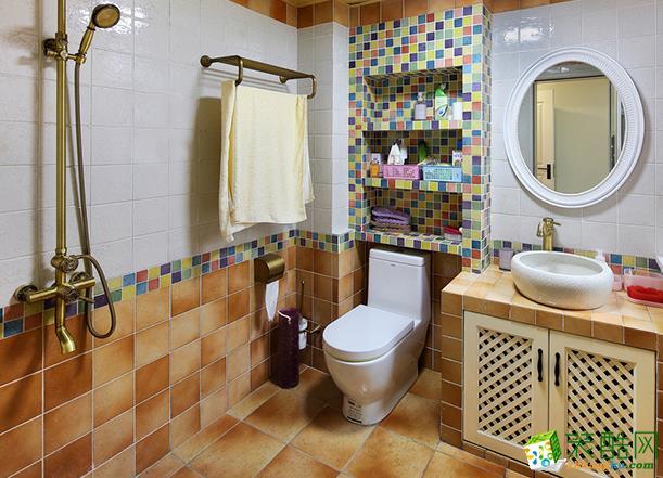 无锡程度装饰-126平米美式混搭三居室装修案例