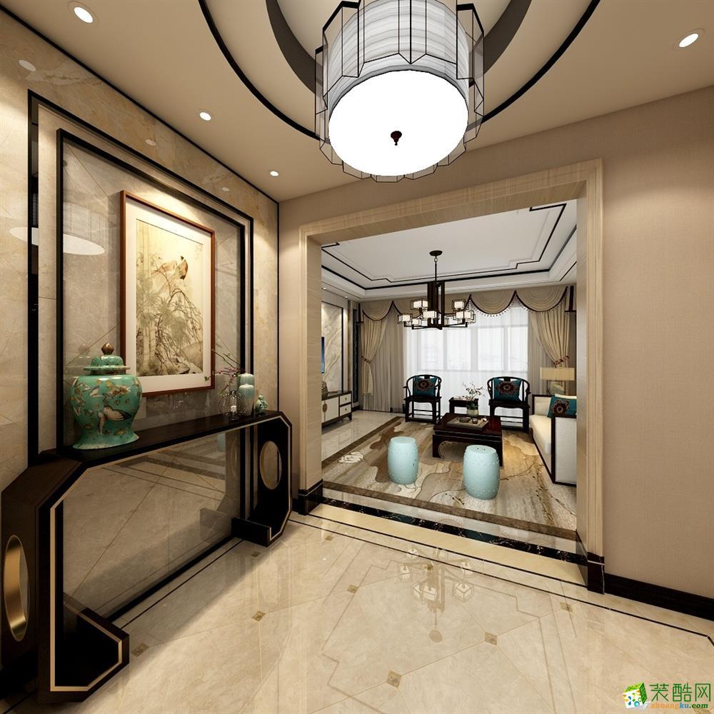 达膺装饰瀚堂小区三室两厅两卫装修新中式风格装修效果图