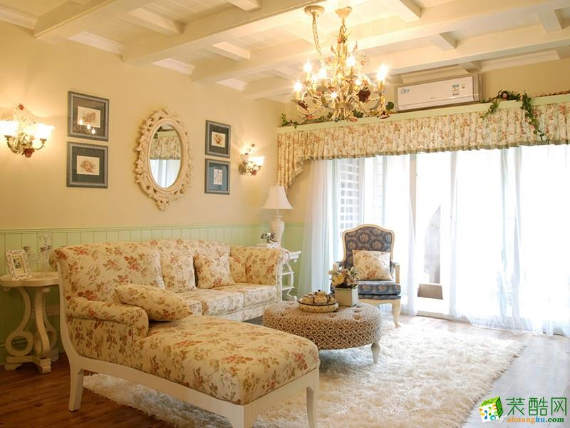 精致典雅田園風格130平米三居室廚房櫥柜裝修案例