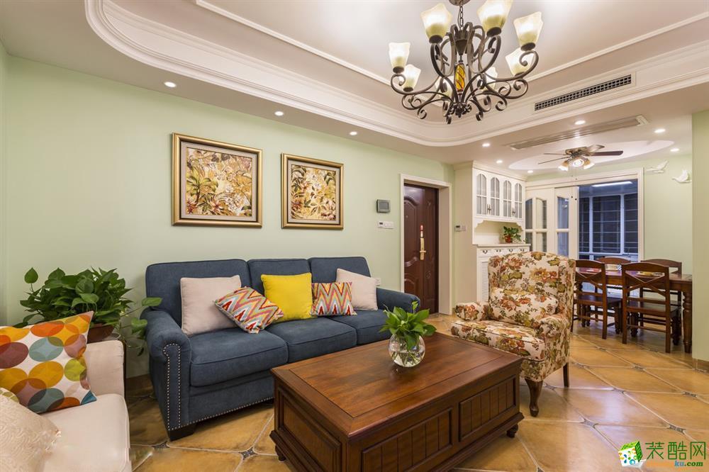 信达公园里98�O三室一厅一卫美式风格装修设计效果图