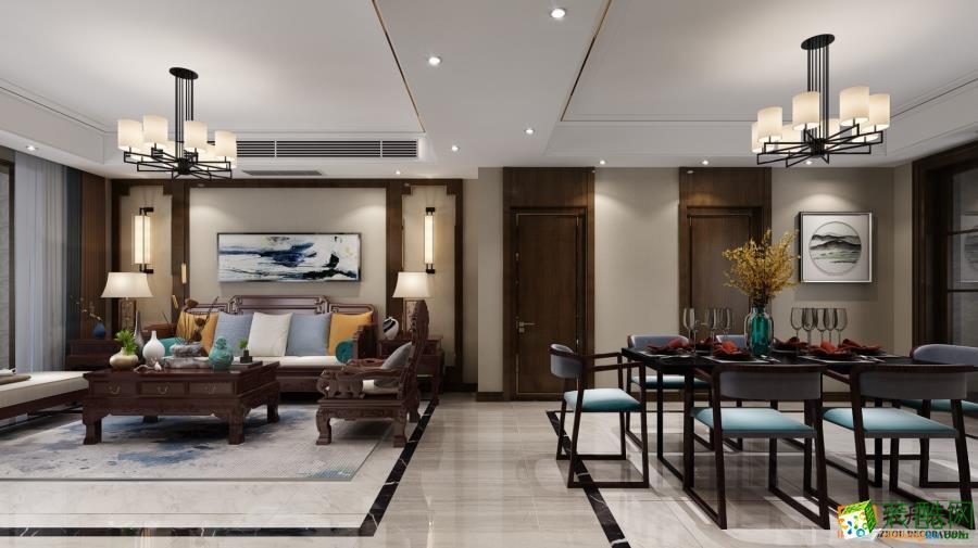 福民锦苑140m2新中式风格三室两厅装修设计效果图