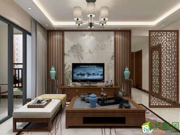 武汉85�O两室两厅新中式风格装修设计效果图