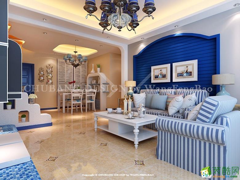 宝嘉誉峰135方三室两厅地中海风格装修设计效果图