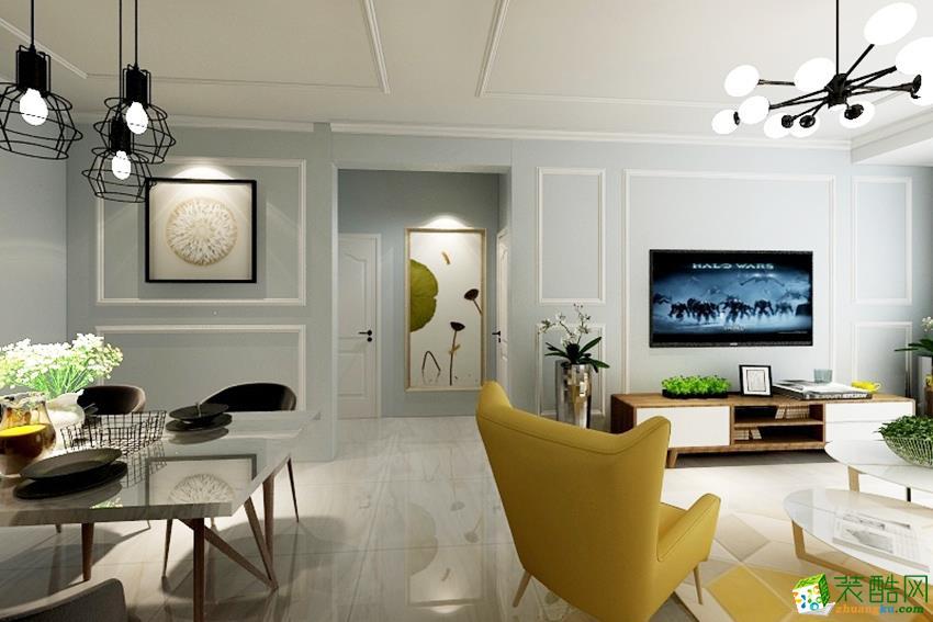 盛邦珑湖88平两室一厅两卫装修北欧风格装修效果图