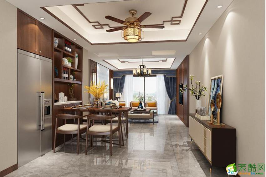 驰程天拓127平三室两厅一卫新中式风格装修效果图