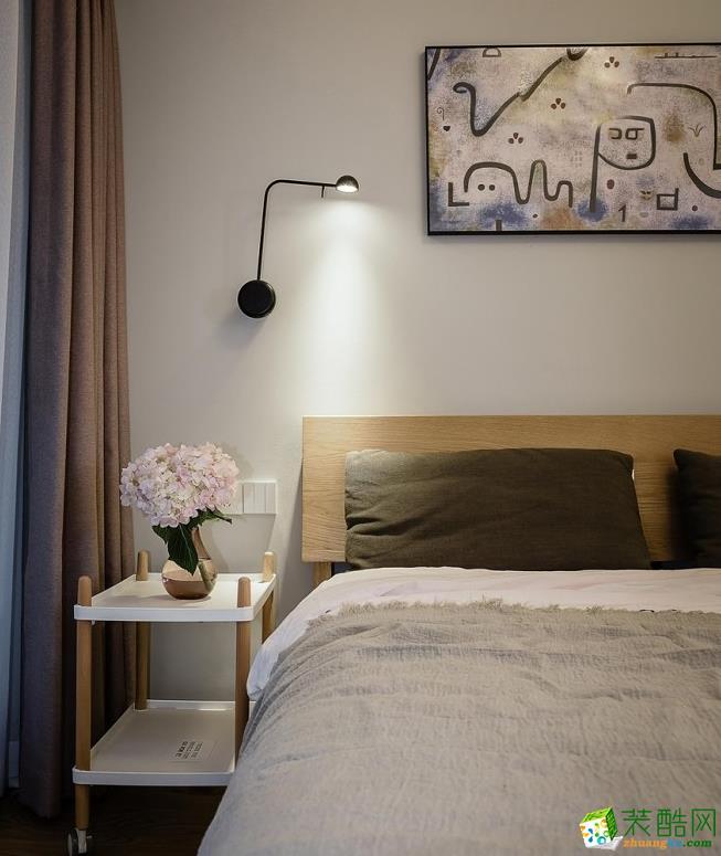 卧室  昆明110平3室2厅简约风格装修案例图-大美装饰