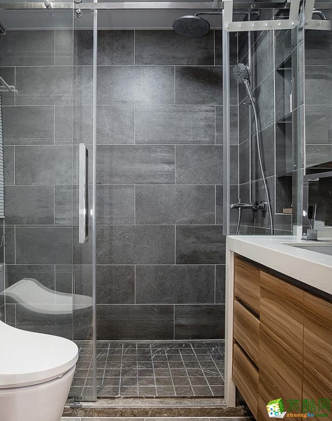 卫浴  昆明110平3室2厅简约风格装修案例图-大美装饰