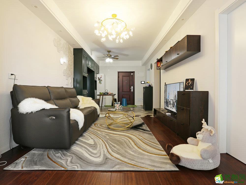 山水作品―保利城77�O两室一厅美式风格装修设计效果图