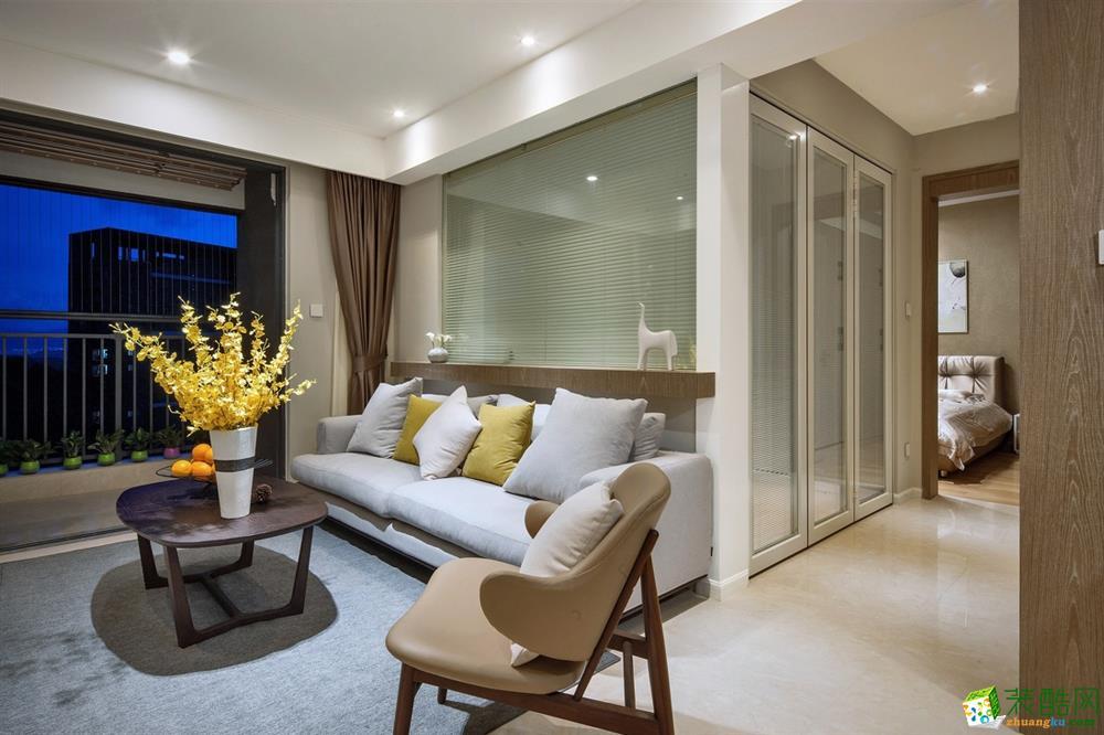奥林设计作品―89�O两室一厅简约风格设计效果图