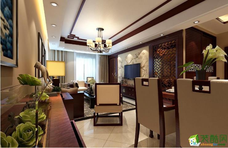 长春净月深水湾115�O7.5万三室两厅中式风格效果图-今朝装饰作品