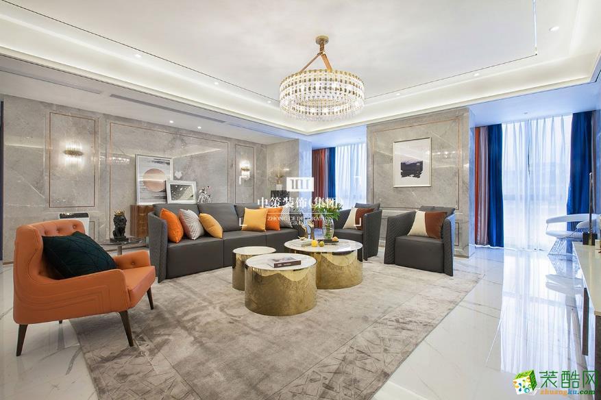 客厅  昆明青瓷大宅290平别墅装修案例图-中策装饰