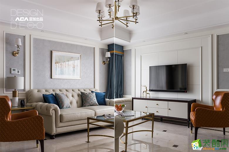 河滨之城100�O三室一厅一卫简欧风格装修设计效果图