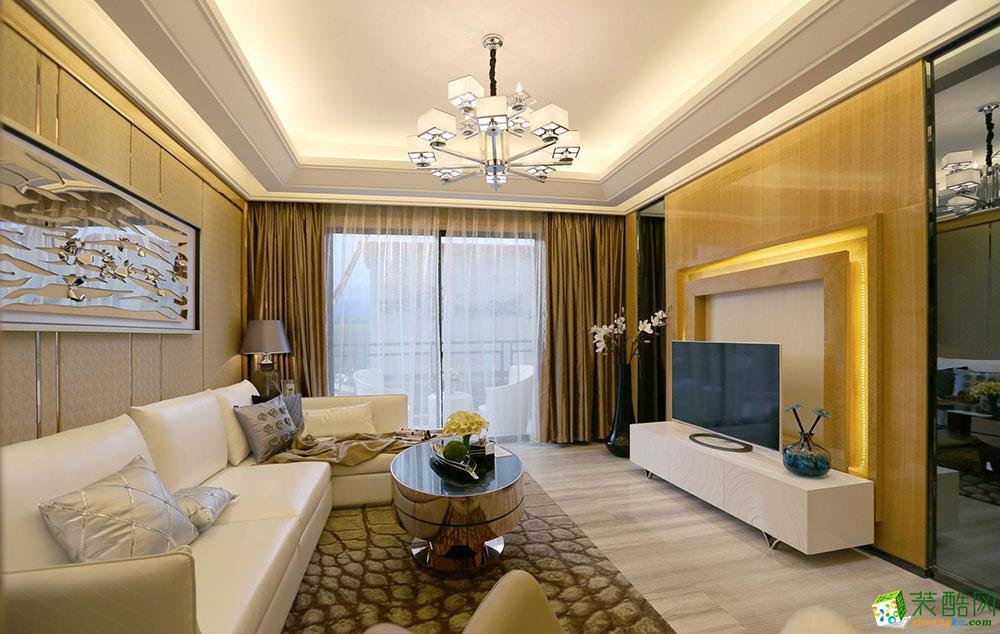 青岛两室两厅装修-75平米现代简约风格装修效果图-四季金辉