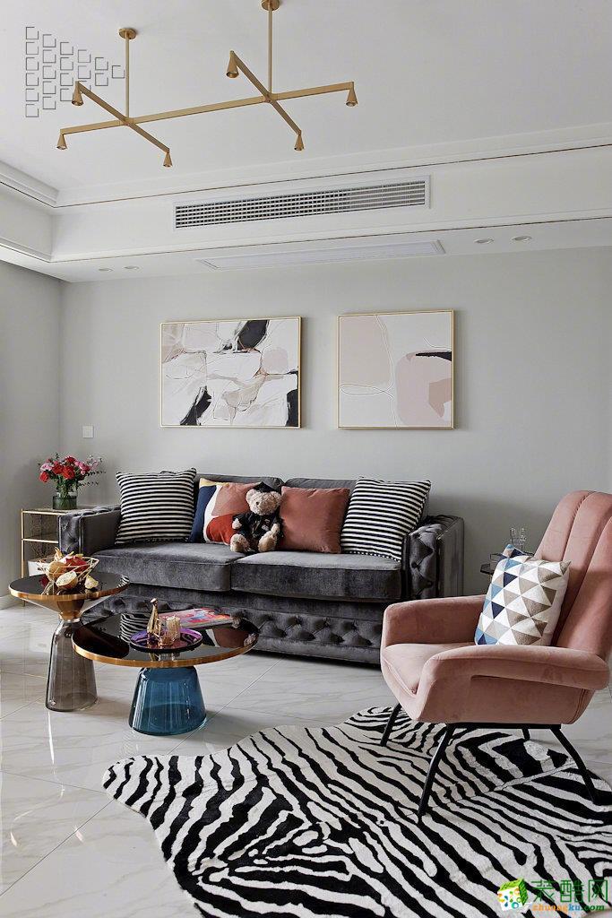 重慶兩室一廳裝修-90平米經典現代輕奢風裝修效果圖-佳天下裝飾