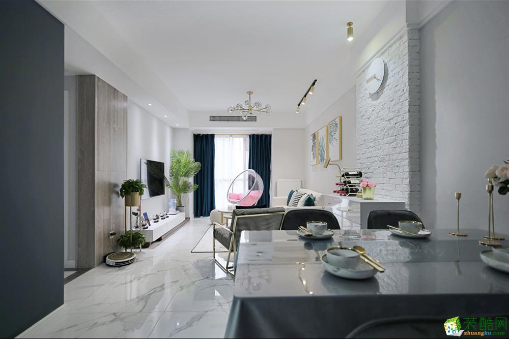 和顺惠园98方三室一厅一卫北欧风格装修设计效果图
