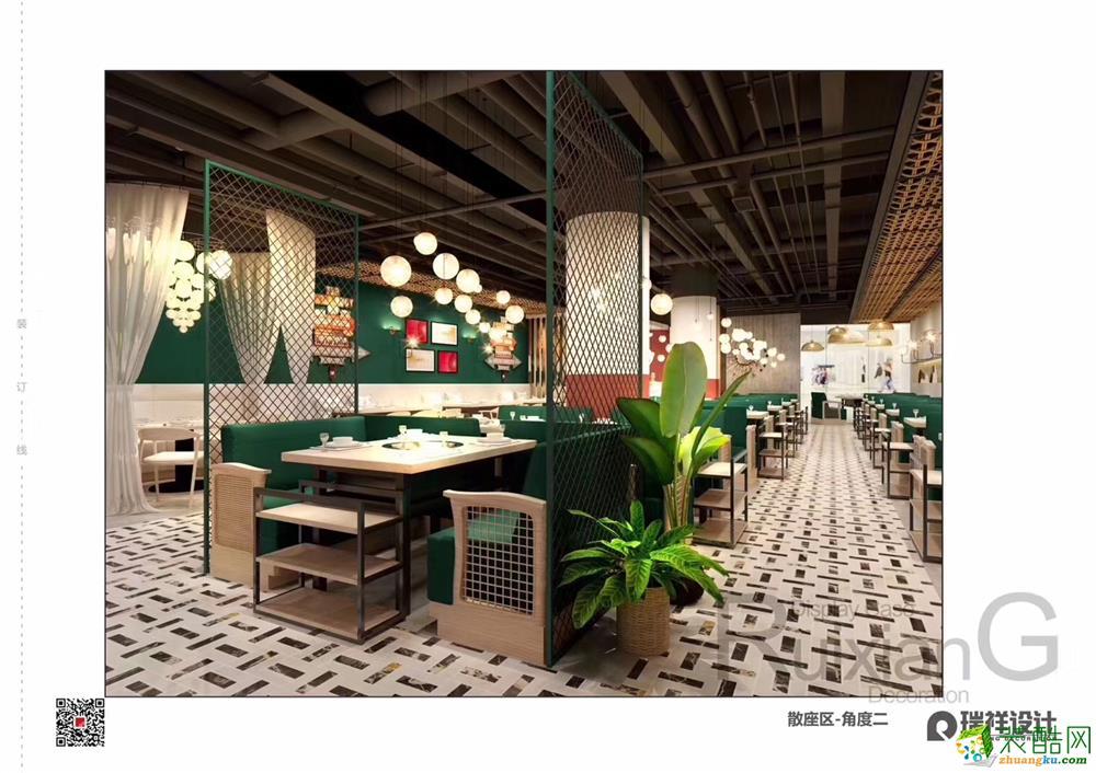 合肥餐厅装修—魔石泡泡鱼餐厅280方清新风格装修设计效果图