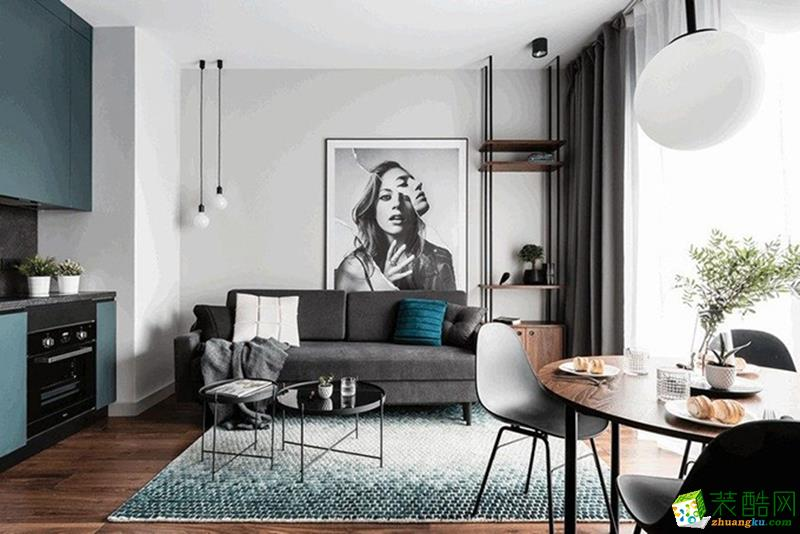 重庆两室两厅装修-60平米北欧风格装修效果图-金工装饰