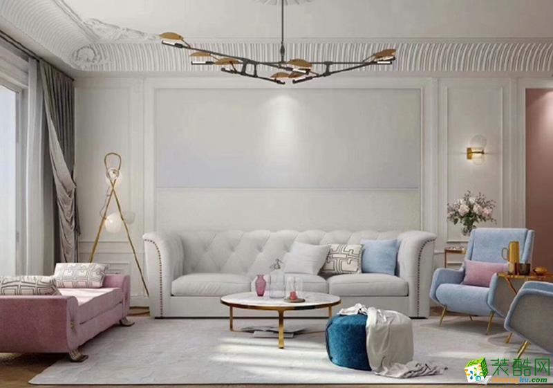 重庆三室两厅装修-89平米美式风格装修效果图-金工装饰