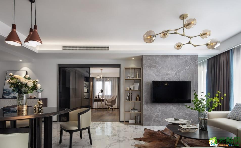 昆明113平3室2廳現代風格裝修案例圖