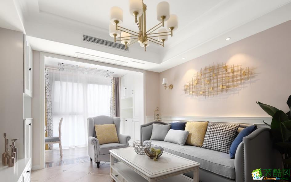 客廳  昆明89平簡美風格裝修案例圖-創藝裝飾