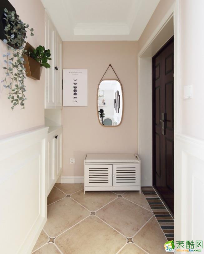 入戶花園  昆明89平簡美風格裝修案例圖-創藝裝飾