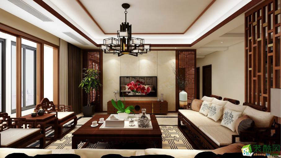 中式-三居室装修案例效果图