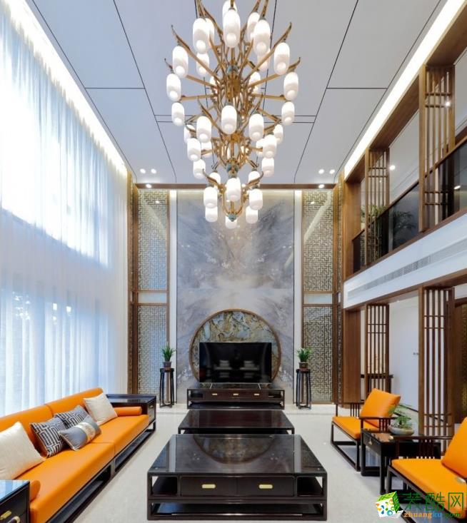 昆明630平別墅新中式風格裝修案例圖-金芒果裝飾