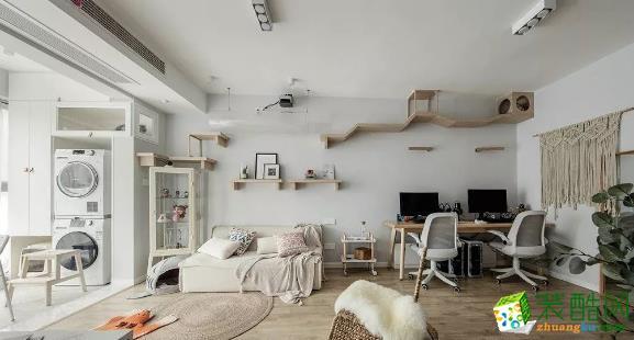 常州105平两居室北欧风格装修案例